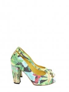 Sandales à talon peep-toe imprimé floral multicolore Px boutique 400€ Taille 36,5