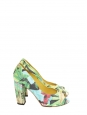 Sandales à talon peep-toe imprimé tropical multicolore Px boutique 400€ Taille 36,5