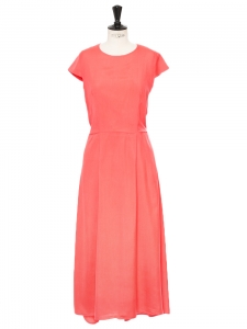 Coral pink silk short sleeved long dress Retail price €400 Size 36