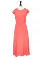 Robe longue manches courtes en soie rose corail Px boutique 400€ Taille 36