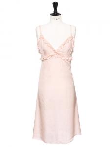 Robe à bretelles fines en soie à plumetis rose poudre NEUVE Px boutique 477€ Taille 36