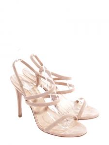 Sandales à talon et bride en suède beige nude Px boutique 260€ Taille 37