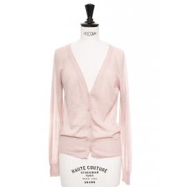 Gilet cardigan fin manches longues en laine et alpaga rose Px boutique 250€ Taille 36