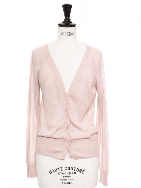 Pink alpaca and wool blend long sleeved cardigan Retail price €250 Size 36