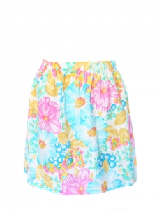 Pink white yellow lagoon blue and green floral printed cotton skirt Size 36