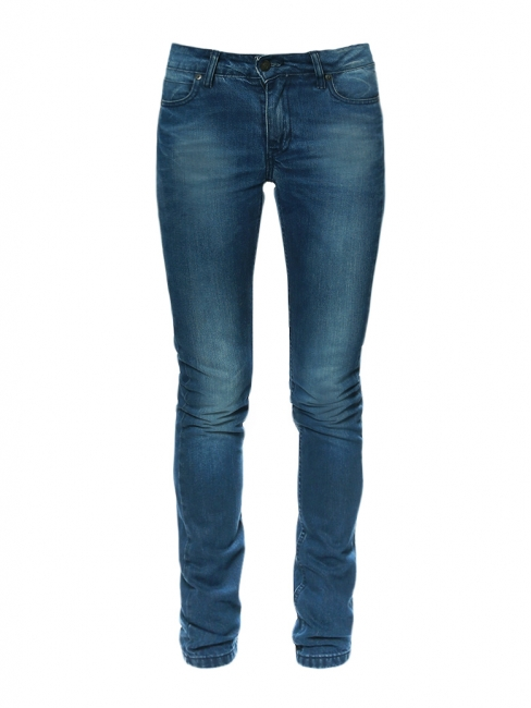 Washed dark blue cotton denim slim fit jeans Retail price €200 Size XS