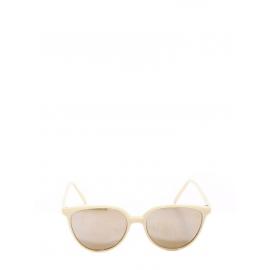 Cat-eye cream beige acetate sunglasses with brown gradient lenses