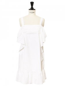 White cotton and grograin ribbon ruffled strapless dress NEW Retail price $575 Size 36