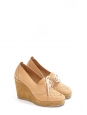 Camel brown cutout leather and suede wedge loafers NEW Retail price €330 Size 39