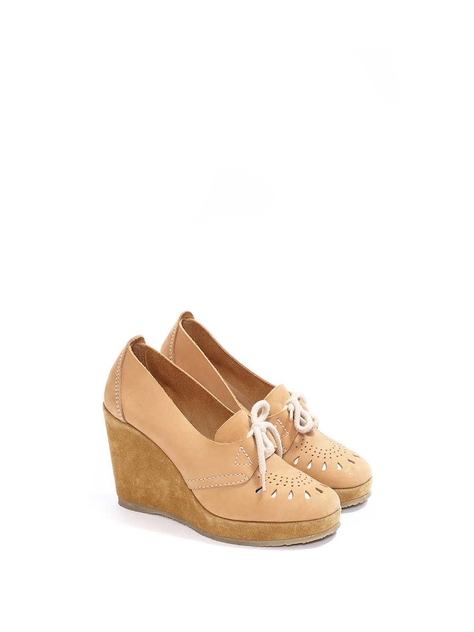 c6d93f5d3a37e4 Camel brown cutout leather and suede wedge loafers NEW Retail price €330  Size 39