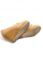 Mocassins en cuir découpé beige camel et talon compensé en suède NEUFS Px boutique 330€ Taille 39