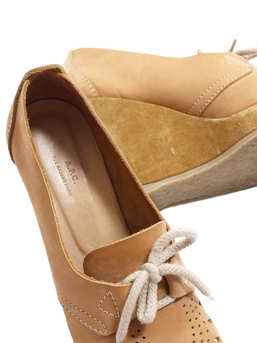 a2692d3dfeb59a Louise Paris - APC Camel brown cutout leather and suede wedge ...