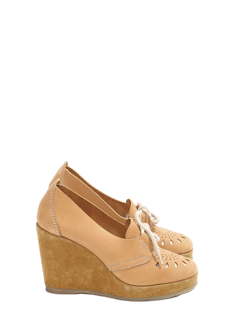 e24448cdca0 Camel brown cutout leather and suede wedge loafers NEW Retail price €330  Size 39