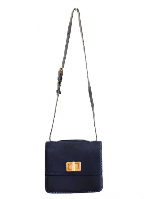 Sac à bandoulière LOUISE en cuir Bleu marine Px boutique 1450€