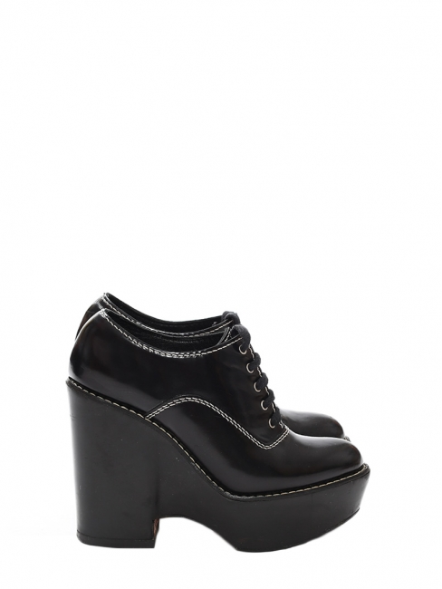 Black glazed leather doc marteen style laced up wedge ankle boots Retail price €600 Size 37.5