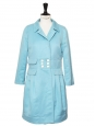 Light blue cotton and linen mid-length peacoat / jacket Retail price €590 Size 36/38