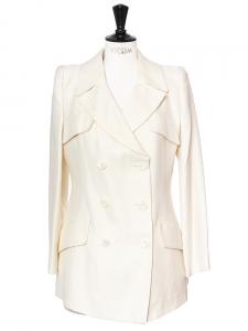 Ecru herringbone wool-blend cinched blazer jacket Size 40