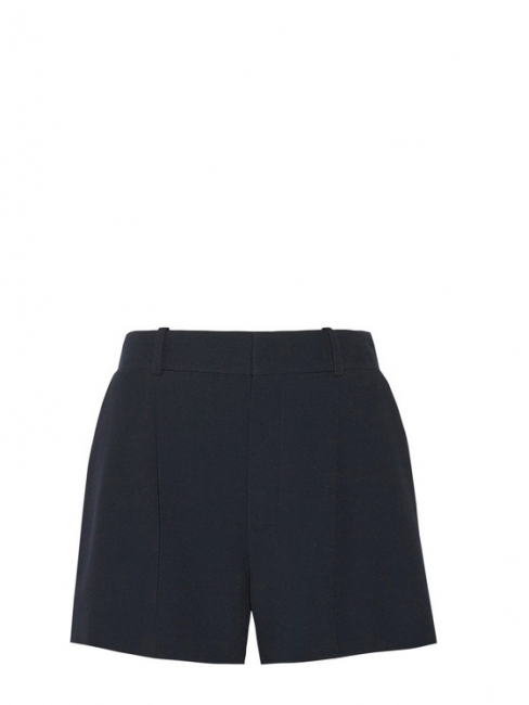 Short taille haute à pinces en crêpe bleu marine Prix boutique 490€ Taille 38
