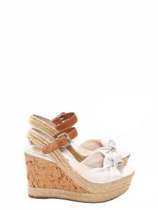 Ivory bow leather espadrilles cork and jute wedge sandals Retail price €500 Size 36.5/37
