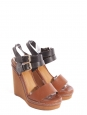 Caramel brown and black leather and canvas wedge sandals Retail price €600 Size 38.5