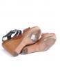 Sandales compensées en cuir et canvas noir et marron caramel Px boutique 600€ Taille 38,5