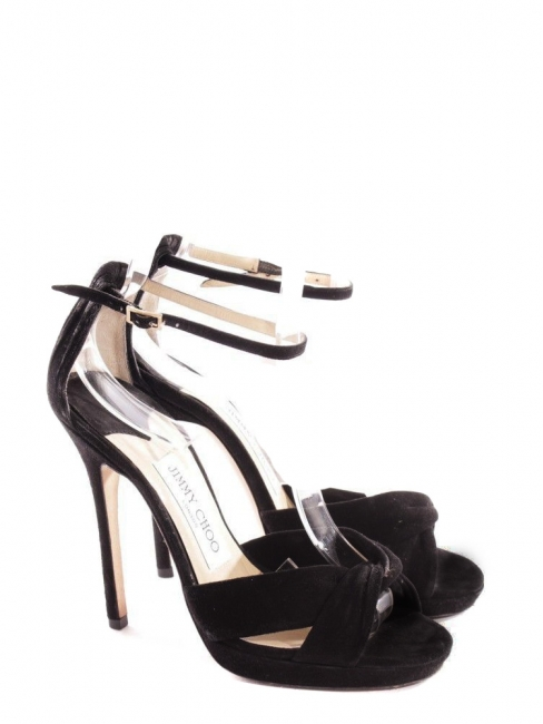 62dc51d92ae MACY Black suede leather stiletto heel sandals with anke strap Retail price  €580 Size 36