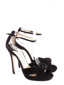 MACY Black suede leather stiletto heel sandals with anke strap Retail price €580 Size 36