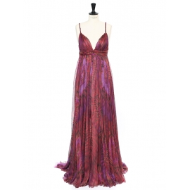 Pink and purple silk chiffon Couture gown NEW Retail price €4000 Size 34/36