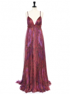 Pink and purple silk chiffon Couture gown Retail price 4000€ Size 34/36