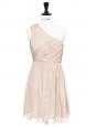 Robe drapée asymétrique en mousseline de soie plissée beige nude NEUVE Px boutique 450€ Taille 34
