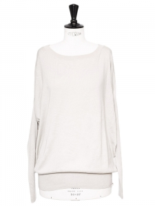 White grey cashmere and cotton crew neck long sleeves sweater Retail price €780 Size 38/40