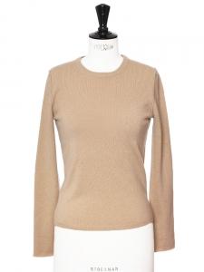 Pull col rond manches longues en cachemire beige camel Px boutique 250€ Taille 34