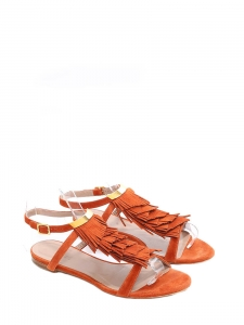 Terracotta red suede fringed flat sandals Retail price €450 Size 36.5
