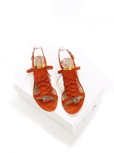 Sandales plates à franges en suède rouge terracotta Px boutique 450€ Taille 36,5