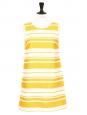 Robe sans manches en natté de coton rayé jaune soleil et blanc Px boutique 1100€ Taille 36