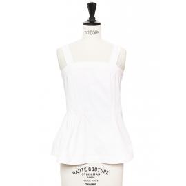 Top débardeur peplum à bretelles larges en coton blanc Prix boutique 350€ Taille 34