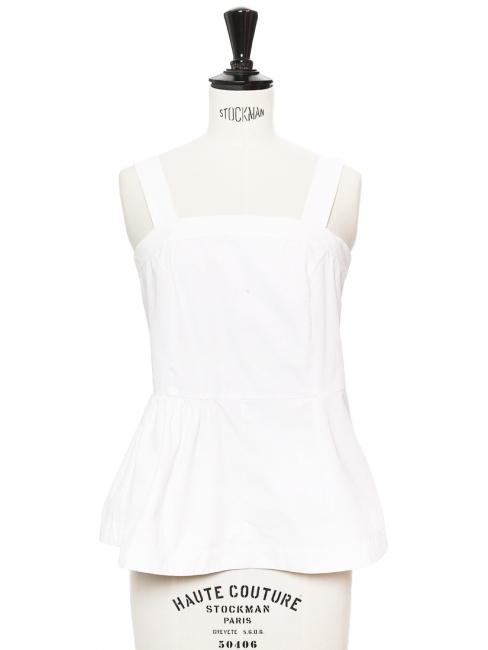 White cotton large straps peplum sleeveless top Retail price €350 Size 34