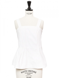 White cotton large straps peplum sleeveless top Retail price €350 Size 34