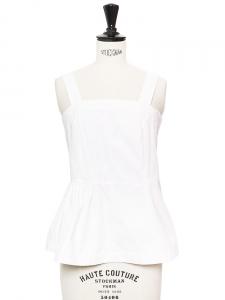 Top débardeur peplum à bretelles larges en coton blanc Px boutique 350€ Taille 34