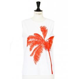 Top débardeur en coton blanc brodé palmier orange Prix boutique 535€ Taille 36