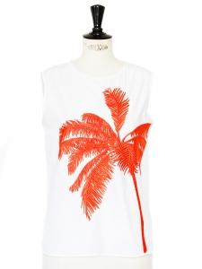 Top débardeur en coton blanc brodé palmier orange Px boutique 535€ Taille 36