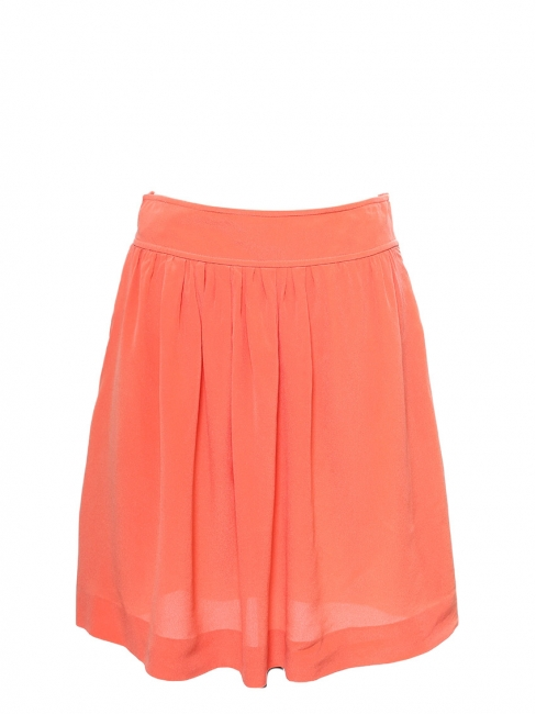 Peach coral pink silk crepe fluid skirt Retail price €500 Size 36