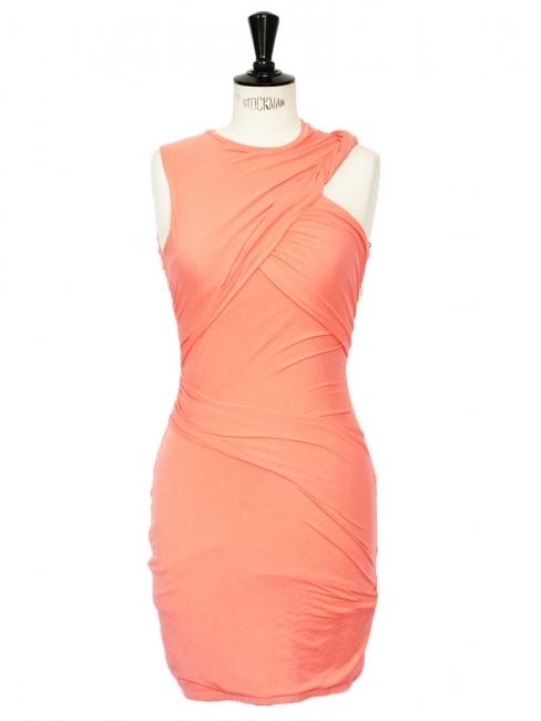 Robe sans manche orange abricot en jersey stretch drapé Prix boutique 390€ Taille 36