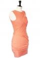 Robe sans manche orange abricot en jersey stretch drapé Px boutique 390€ Taille 36