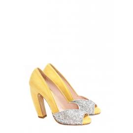 Escarpins peep toe en suède jaune et glitters argent talon banane Px boutique 500€ Taille 37