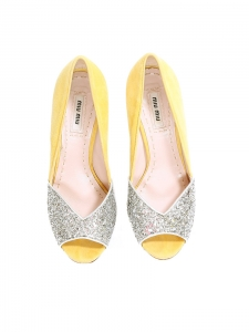 Silver glitter and yellow suede leather peep toe pumps Size 37