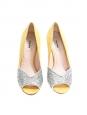 Escarpins bout ouvert en suède jaune et glitters argent Px boutique 500€ Taille 37