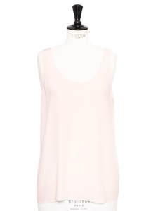 Pale pink silk round neck tank top Retail price €150 Size 36/38