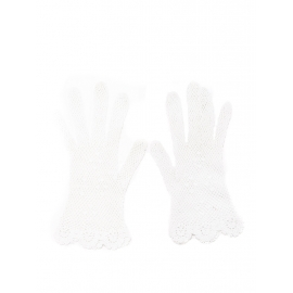 White lace fishnet cotton gloves Size S