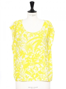 Bright yellow and white printed crepe open back sleeveless top Retail price €65 Size 38